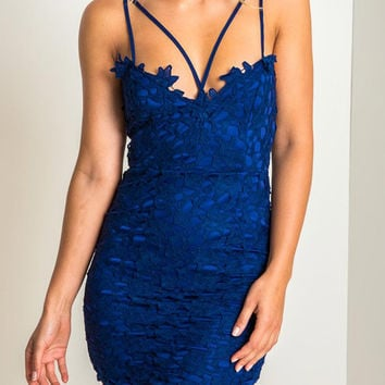 Blue Women's Lace Crochet Lined Spaghetti Strap Bodycon Dress