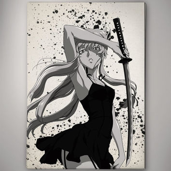 Mirai Nikki Yuno Gasai Amano Watercolor Print  Archival Print Print  Wall Decor Art Poster Anime Print  Manga Cartoon  Geek Multi Size n513