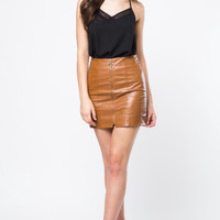 Women's Zip-Up Leather Miniskirt