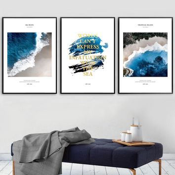 Blue Ocean Sea Beach Landscape Wall Art Canvas Painting Nordic Posters And Prints Wall Pictures For Living Room Quadro Decor