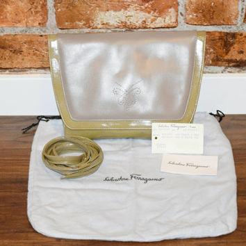 Vintage Salvatore Ferragamo Olive Green Crossbody Purse