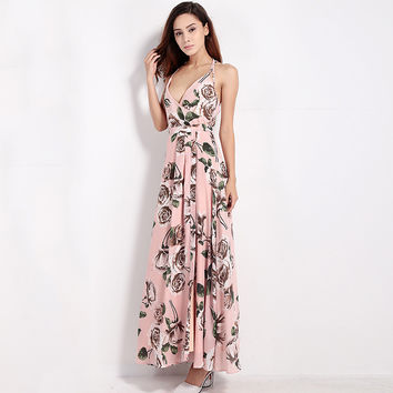 Floral Printed Halter Sleeveless Cross Front Maxi Dress