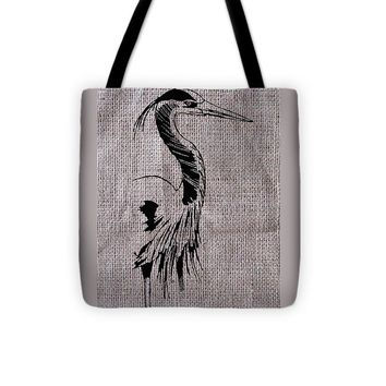 Heron On Burlap - Tote Bag