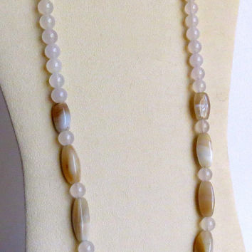 Beige Agate Necklace with White Rounds of Agate and Sterling Silver Clasp, Statteam