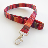 Woven Lanyard / Boho Keychain / Indian Blanket Inspired / Bohemian / Key Lanyard / Red / Woven Stripe Fabric / ID Badge Holder