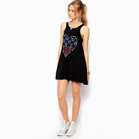 Black Heart US Flag Print Sleeveless Dress