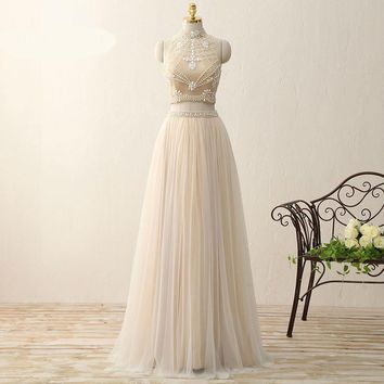 Elegant High Neck Tulle Sleeveless A Line Long Prom Dresses Two Piece Beading Floor Length Party Dress