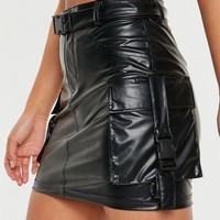 Missguided - Black Faux Leather Seatbelt Buckle Mini Skirt