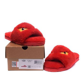ESBON UGG Big Eyes Little Monster Slipper Women Men Fashion Casual Wool Winter Snow Boots Red