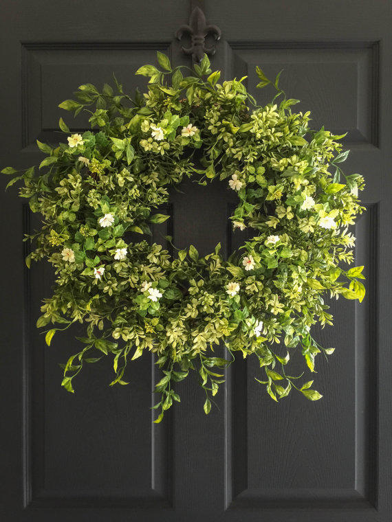 Boxwood Wreath With White Tea Leaf From Homehearthgarden
