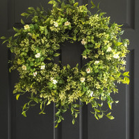 Boxwood Wreath with White Tea Leaf Flowers - Summer Wreaths - Front Door Wreaths - Artificial Boxwood Wreath - Graduation Party Decor