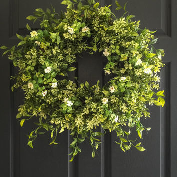 Boxwood Wreath With White Tea Leaf Flowers Summer Wreaths Front Door Artificial
