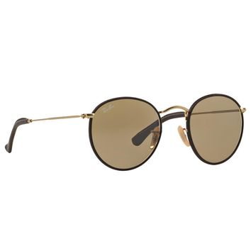 Ray Ban RB3475Q 112/53 Round Craft Sunglasses Brown Gold Brown Classic Lens 50mm