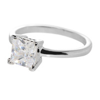 Sterling Silver Womens Engagement Ring Square 7mm CZ