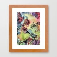 Sweet doodle flowers Framed Art Print by Heaven7 | Society6