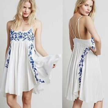Summer Sleeveless Hippie Boho People Backless Embroidery Boho dresses