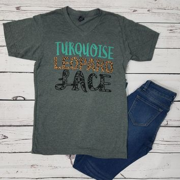 Turquoise Leopard and Lace Graphic Tee