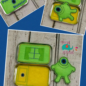 Pocket stuffed monster tin play set embroidered, travel toy, game, role playing, stuffie, stuffed animal, quiet toy, toy, make believe, doll