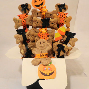 Halloween dog biscuit treat dog gift basket, unique gift,  personalized, orange, black, dog get well gift, dog birthday gift, new dog gift