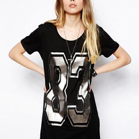 Black Silver Number 83 Print Short Sleeve A-line Mini Dress