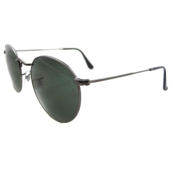 Kalete Ray-Ban Sunglasses Round Metal 3447 029 Gunmetal Green Medium 50mm
