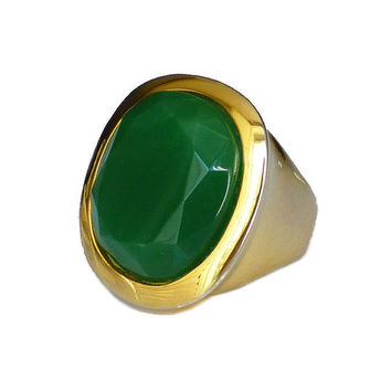KJL Ring, Kenneth Jay Lane, Emerald Green, Gold Plated, Statement Ring, Vintage Jewelry