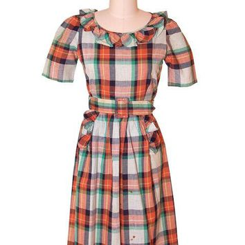 Vintage Cotton Printed  House Dress Frock Green Plaid  Early 1940s 35-28-46