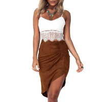 Irregular Suede Skirt