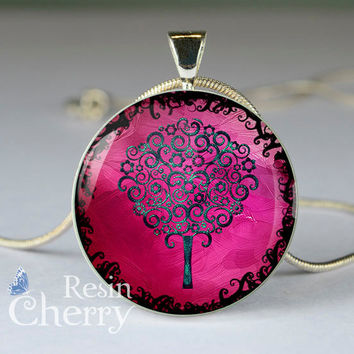 tree resin pendant, photo pendant,tree glass pendant,tree pendant charms- D0786CP
