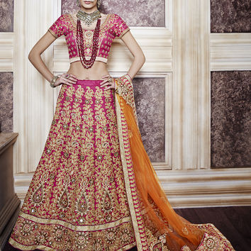 Women's Dupioni Raw Silk Fabric & Violet Pretty A Line Lehenga Style