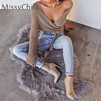 MissyChilli Wrap knitting off shoulder sweater Women Autumn winter chic casual sweater jumper Aasymmetrical cardigans top blouse