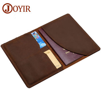 Joyir Genuine Leather Men Passport Cover Passport Holder Travel Wallet Card Wallet Credit Card Holder Porte Carte Business Male