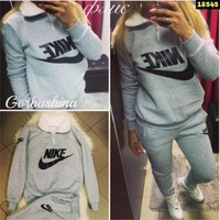Pants Bottom & Top Fleece Thicken Hoodies Set [10885113671]