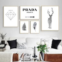 PRADA Deer Silhouette Feather Nordic Wall Art Canvas Posters and Prints Abstract Canvas Painting Wall Pictures for Living Room