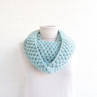 Bubble Infinity Scarf Loop Circle Wool Scarf Thick Knit Scarf Pastel Mint 24 Color Options