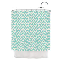 "Amanda Lane ""Geo Tribal Turquoise Sky"" Teal Aztec Shower Curtain"
