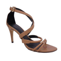 Theory Nude Beige Leather Strappy High Heel Sandals Shoes Size 38