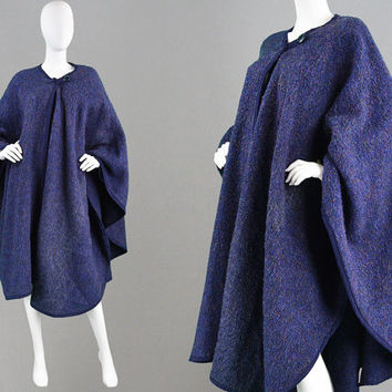 Vintage 60s Mohair Cape Long Cloak Womens Cape Coat Wool Blend Multicolored Lurex Avant Garde Shawl Coat Waterfall Coat Drape Coat 1960s Mod