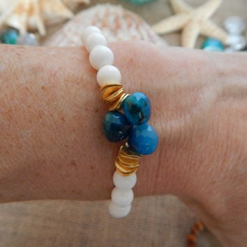 Deep aqua chalcedony with white clam shell beads, stretch bracelet, white and blue bracelet, heart briolettes, stretch stack bracelet