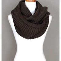 Coffee Brown Knitted Infinity Scarf