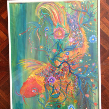 Koi Fish Painting  by ArtByClaireSlattery on Etsy