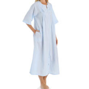 Miss Elaine 864635 Seersucker Solid Long Zip Robe