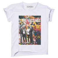 Floral And The Vaccines T-Shirt, White Cotton Blend, Unisex SIZE S M L XL