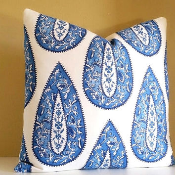 Decorative Pillow - Large Cobalt Paisley Pillow Cover - Pick your pillow Size -