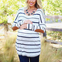 Navy-Blue-Beige-Striped-Suede-Elbow-Patch-Maternity-Top