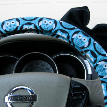 The Original Adorable Owls Steering Wheel Cover with Matching Black Bow
