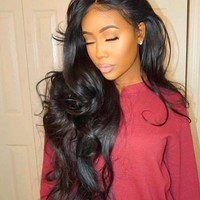 100% Brazilian Virgin Hair Lace Front Wig Body Wave with Baby Hair