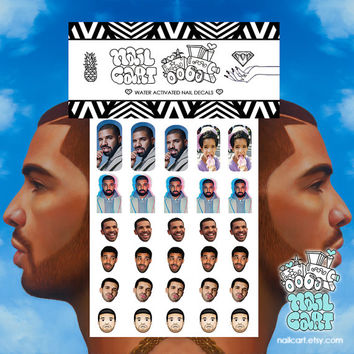 Drizzy Drake Drakeface Hotline Bling Hip Hop Waterslide Nail Decals Nail Art Nail Accessories Nail Wraps