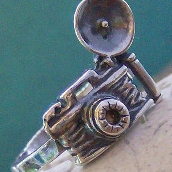 Hand stamped Capture Life sterling silver photography ring, custom size vintage style camera