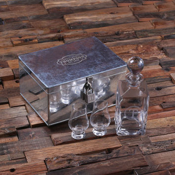 Personalized Decanter Whiskey Sniffers and Steel box with Lock